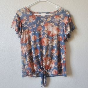 Caution To The Wind Sheer Blue Floral Top